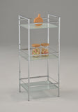 Chrome Metal & White Tempered Glass Modern Free Standing Utility Rack Organizer Stand - Pilaster Designs