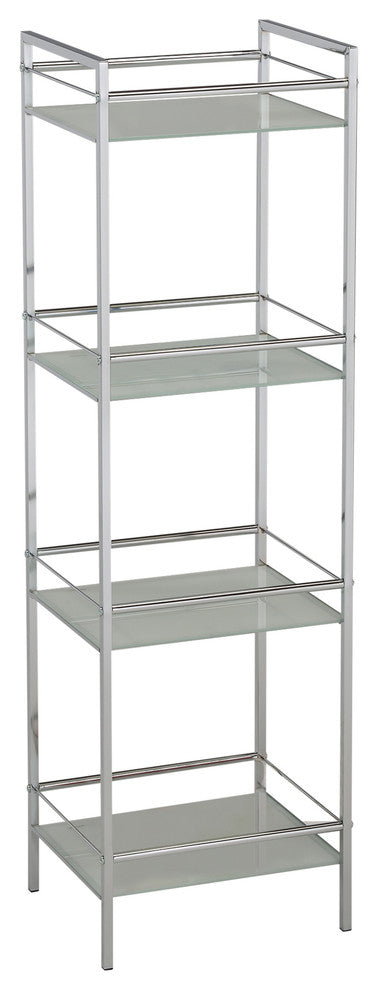 Obelia 4 Tier Shelving Unit, Chrome Metal & White Tempered Glass