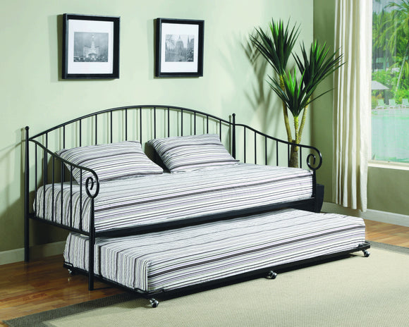 Emele Twin Size Metal Daybed Frame (Black, White) (Optional Trundles & Mattress) - Pilaster Designs