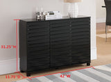 Leina Black Wood Contemporary Sideboard Buffet Console Table With Cabinet Doors & Storage - Pilaster Designs