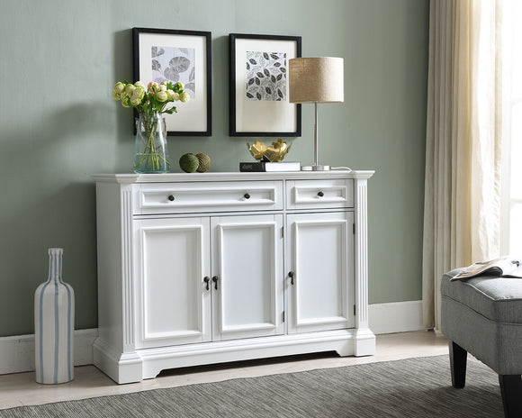 Liam White Wood Contemporary Sideboard Buffet Console Table With Storage Cabinets, Drawers, Shelves - Pilaster Designs