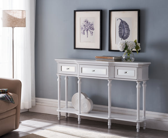 Phoenix Console Table, White Wood & Mirror