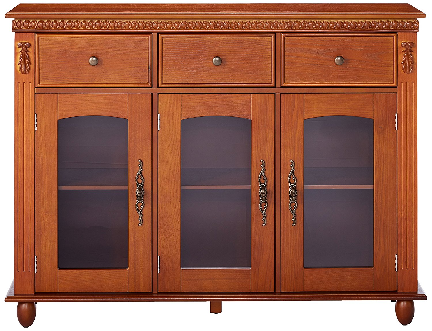 William Walnut Wood Contemporary Sideboard Buffet Console Table With