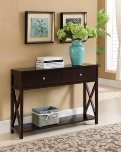 Ethan Dark Cherry Wood Contemporary Occasional Entryway Console Sofa Table With Storage Drawers & Shelf - Pilaster Designs
