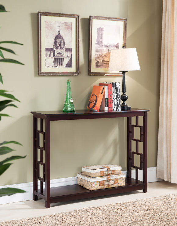 Alex Dark Cherry Wood Contemporary Occasional Entryway Console Sofa Table With Storage Shelf - Pilaster Designs