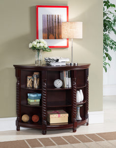 Aiden Cherry Wood Contemporary Entryway Console Sofa Buffet Table With Storage Shelves - Pilaster Designs