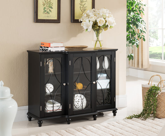 Logan Wood Contemporary Sideboard Buffet Console Table China Cabinet With Glass Doors & Storage (Black, Cherry) - Pilaster Designs