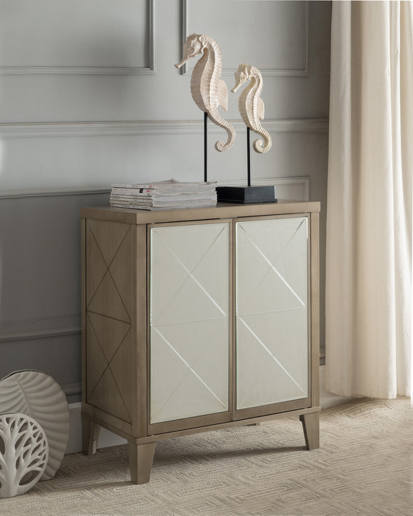 Caleb Antique White Wood Accent Entryway Sofa Display Table With Mirrored Storage Cabinet Doors - Pilaster Designs