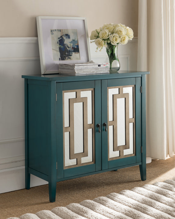 Hunter Antique Blue Wood Contemporary Accent Entryway Sofa Display Table With Mirrored Storage Cabinet Doors - Pilaster Designs