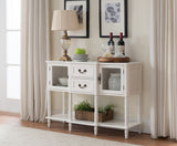 Isaiah Cream White Wood Drawer & Cabinet Contemporary Entryway Console Buffer Display Table With Storage - Pilaster Designs