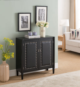 Connor Contemporary Wood & Faux Leather Tufted Entryway 2 Door Storage Accent Cabinet Console Table (Black, White) - Pilaster Designs