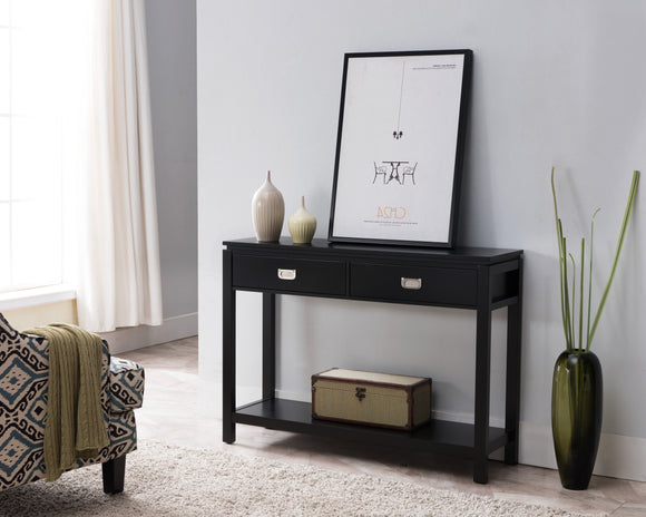 Dylan Wood 2 Drawer Contemporary Occasional Entryway Console Table With Storage Shelf (Black, White) - Pilaster Designs