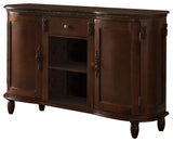 Adrian Walnut Wood Contemporary Console Buffet Display Storage Table With 2 Cabinets, Drawer & Shelves - Pilaster Designs