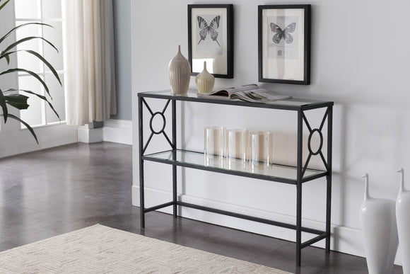 Colton Textured Black & Brushed Copper Metal With Transparent Tempered Glass Modern 2 Storage Shelf Occasional Entryway Console Sofa Table - Pilaster Designs