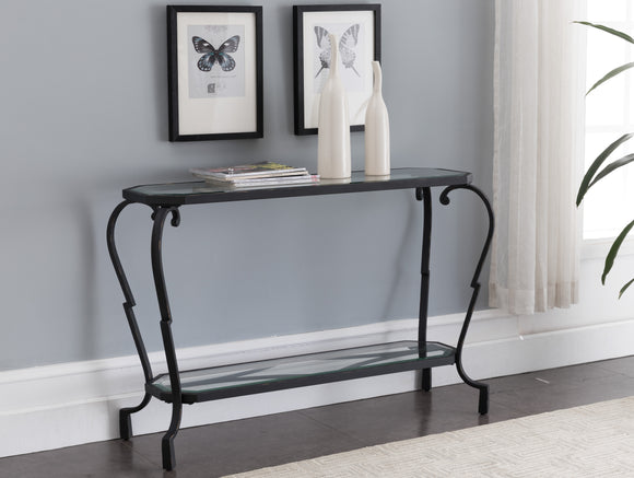 Jordan Textured Black & Brushed Copper Metal With Transparent Tempered Glass Modern 2 Storage Shelf Occasional Entryway Console Sofa Table - Pilaster Designs