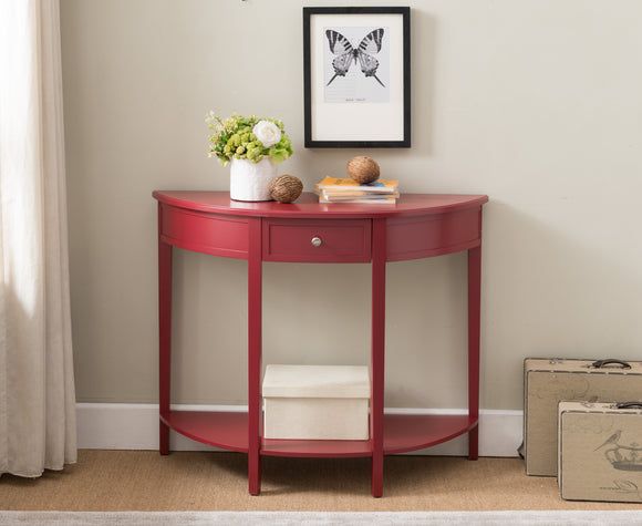 Hudson Red Wood Contemporary Crescent Entryway Console Display Table With Storage Drawer & Shelf - Pilaster Designs