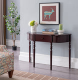 Lincoln Dark Cherry Wood Contemporary Crescent Entryway Console Display Table With Storage Drawer - Pilaster Designs