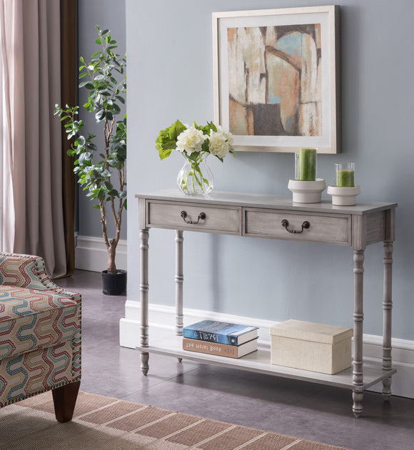Evan Wash White Wood Industrial Style Entryway Console Display Table With 2 Storage Drawers & Shelf - Pilaster Designs