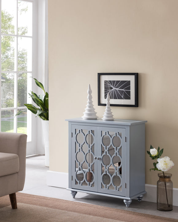 Tango Accent Cabinet, Gray Silver Wood & Mirror