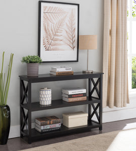 Gavin Black Wood Contemporary X Design Storage Entryway Console Sofa Table - Pilaster Designs
