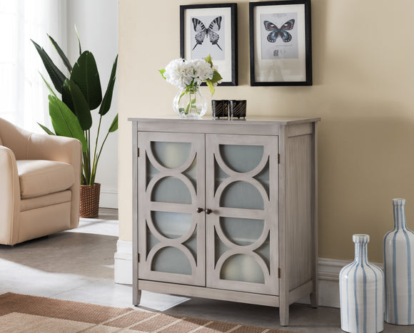Pasco Accent Cabinet, Wash Gray Wood & Frosted Glass