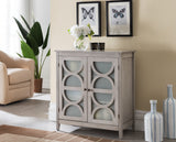 Pasco Accent Chest, Wash Gray Wood & Frosted Glass