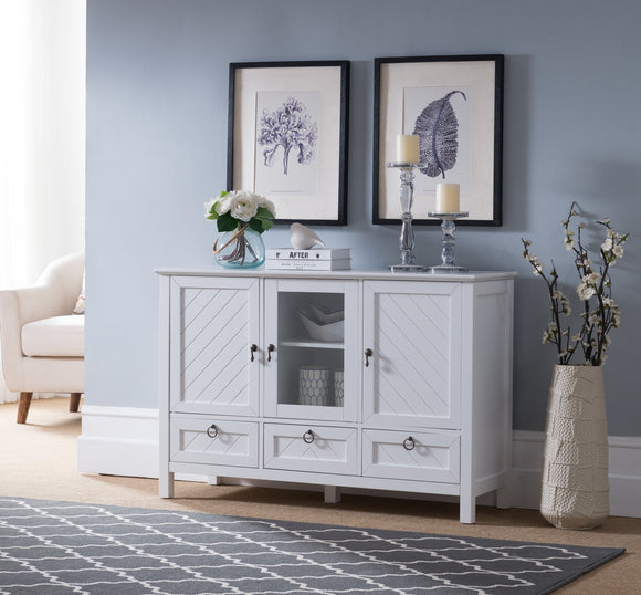 Newport Contemporary Sideboard Buffet Console Table With Storage Cabinets, Drawers & Shelves, White, Wood & Glass - Pilaster Designs