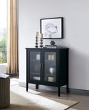 Delancey Accent Cabinet, Black Wood & Glass