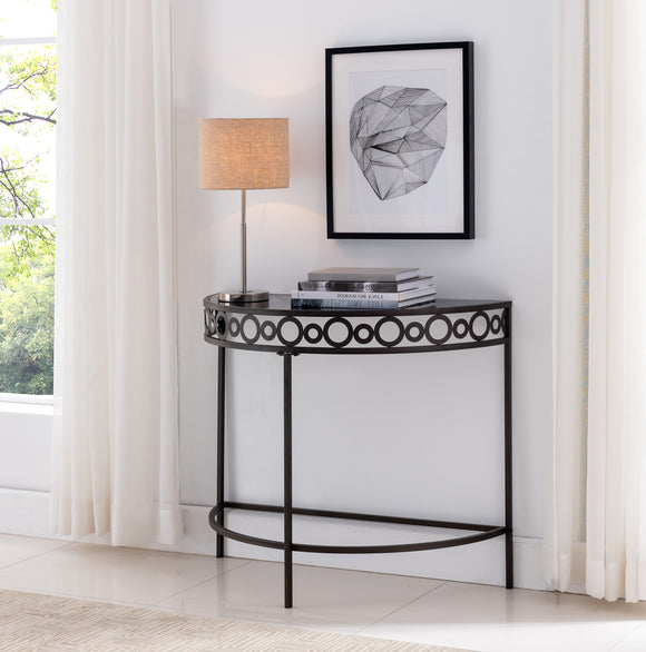 Alameda Console Table, Pewter Metal & Black Tempered Glass