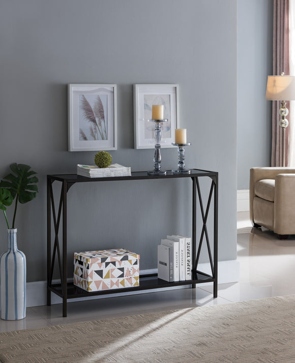 Allegheny Console Table, Pewter Metal & Black Glass