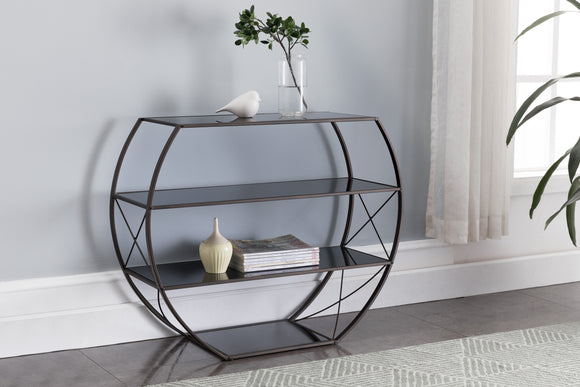 Parker Console Table, Pewter Metal & Black Glass