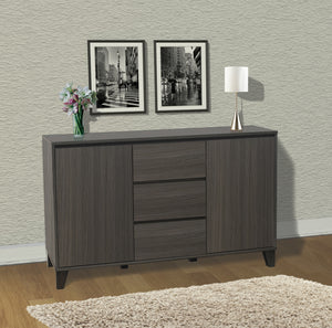 Anitra Oak Gray Wood Modern Buffet Server 2 Door Cabinet Console Table With  3 Storage Drawers
