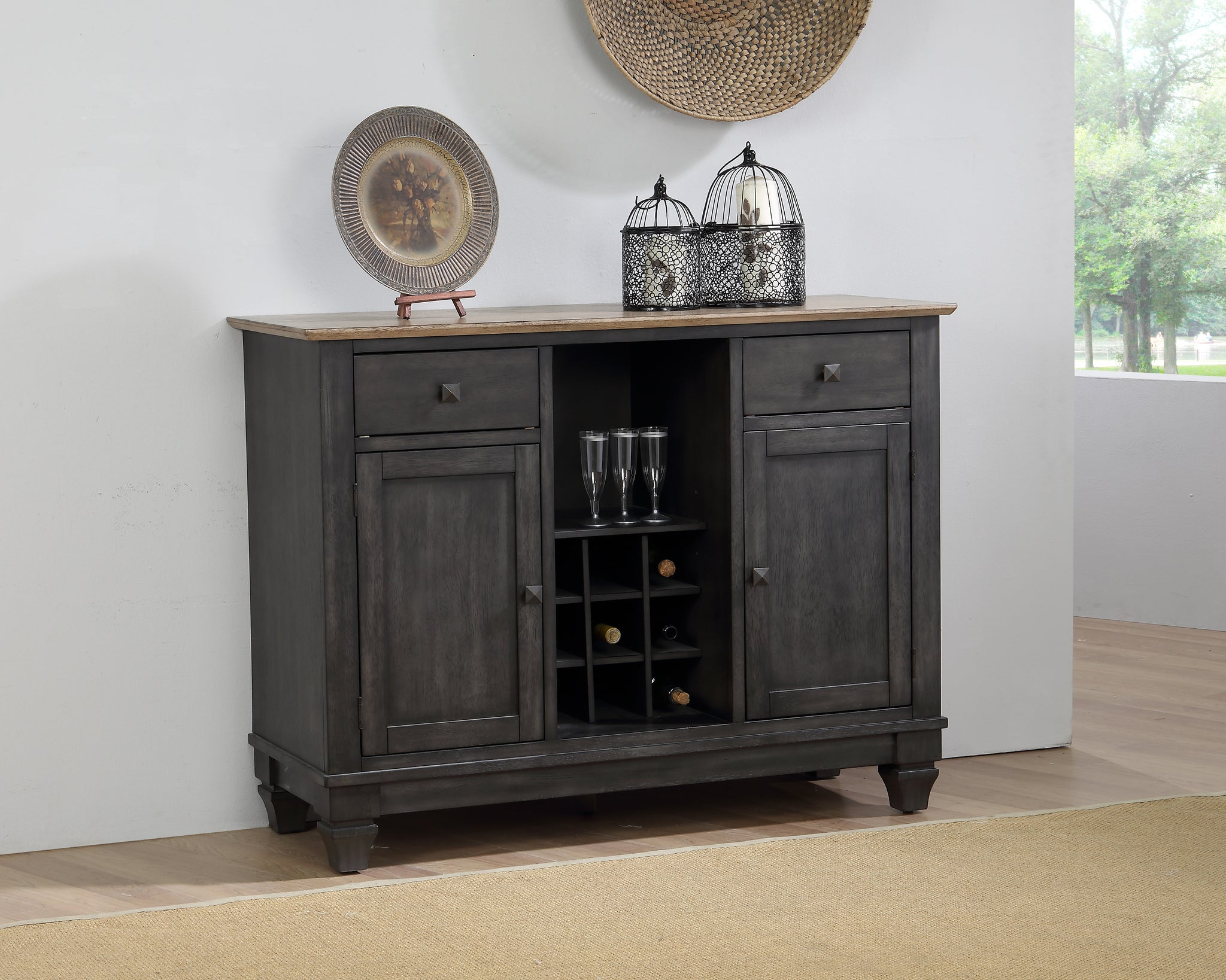 Astonishing Nysha Sideboard Buffet Server Cabinet Charcoal Oak Wood Interior Design Ideas Pimpapslepicentreinfo