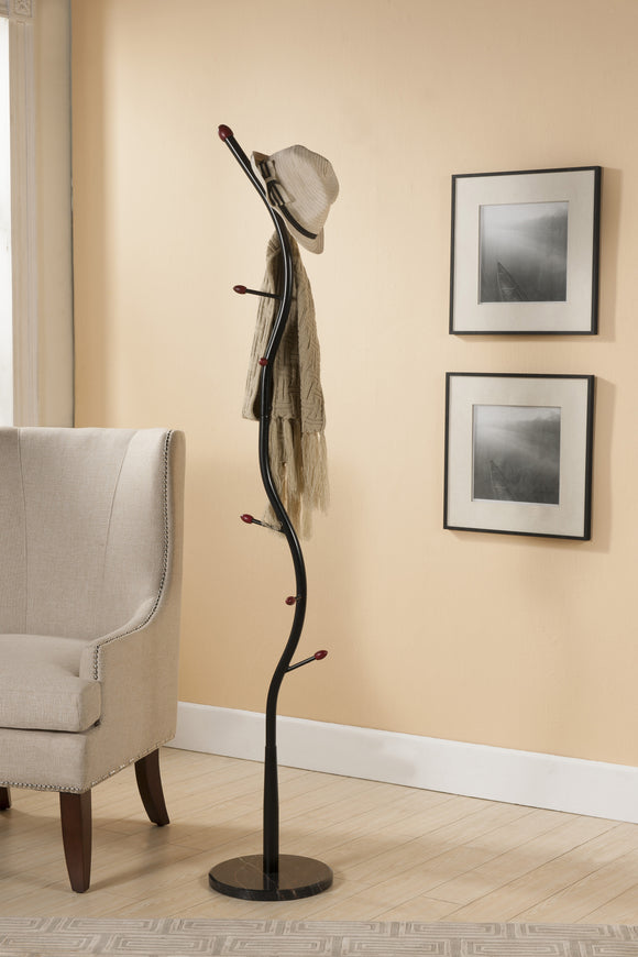 Black & Walnut Metal 9 Hook Entryway Coat & Hat Rack Organizer Display Stand (Black Marble Base) - Pilaster Designs