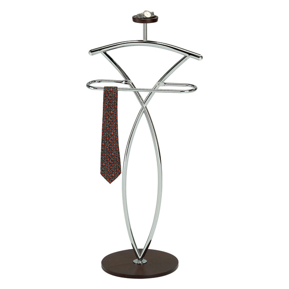 Chrome & Walnut Metal & Wood Coat & Hat Suit Valet Stand Organizer Rack - Pilaster Designs