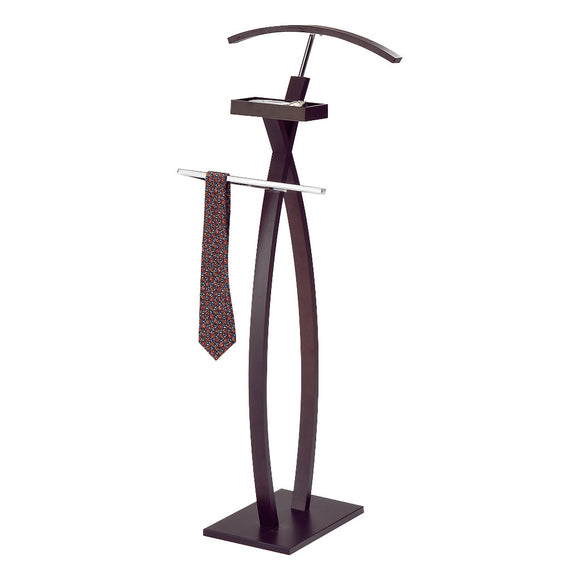 Chert Cloth Valet, Walnut Wood & Chrome Metal