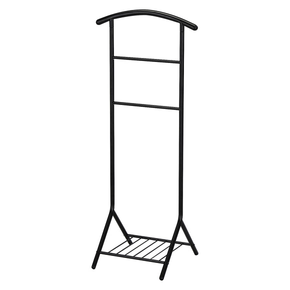 Black Metal Coat Suit Valet Stand Organizer Rack With Storage Shelf - Pilaster Designs