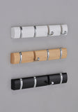 Aldis Wall Mounted Flip Hooks, Oak Wood & Chrome Brass