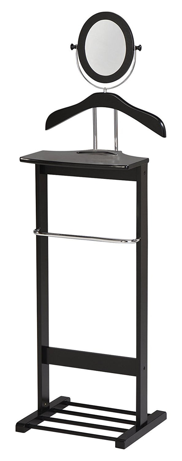 Black Wood & Chrome Metal Modern Suit & Cloth Valet Stand Organizer Rack With Mirror, Hanger, Shelf & Rack - Pilaster Designs