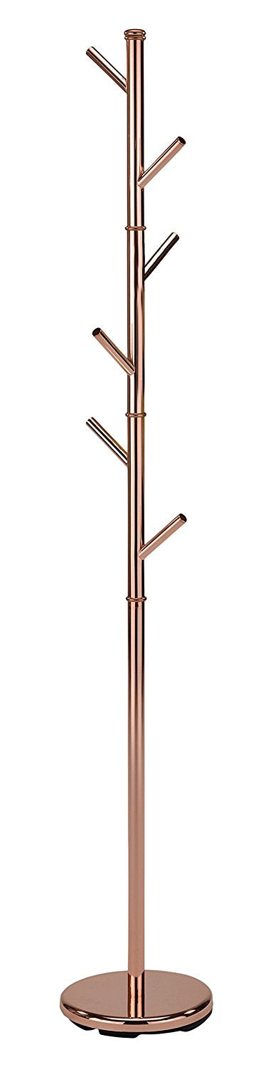 Chrome or Rose Gold Metal Transitional 6 Hook Free Standing Hall Tree Twig Style Coat & Hat Rack Hanger (71