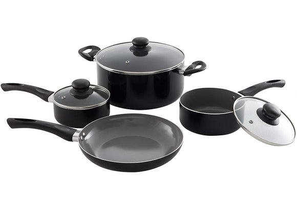 7 Piece Aluminum Non-Stick Cookware Set, Black