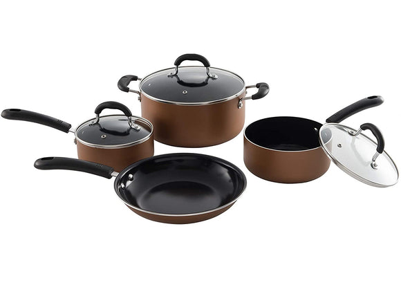 7 Piece Aluminum Non-Stick Cookware Set, Copper