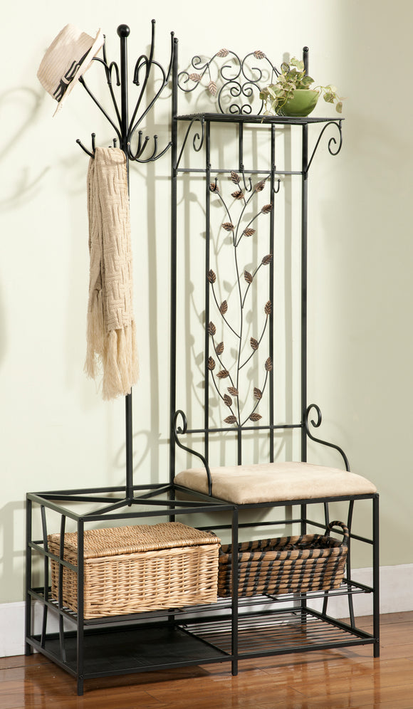 Black Metal Entryway 12 Hook Coat & Hat Rack Hall Tree Stand Organizer Display With Storage Shelves, Bench & Umbrella Stand - Pilaster Designs