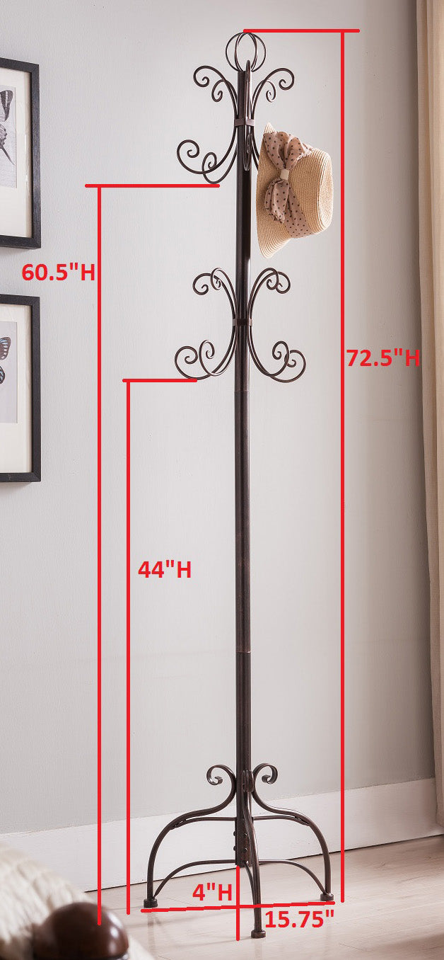 Brushed Silver Or Copper Metal Transitional 8 Hook Hat Coat Rack Hall Tree Display Stand