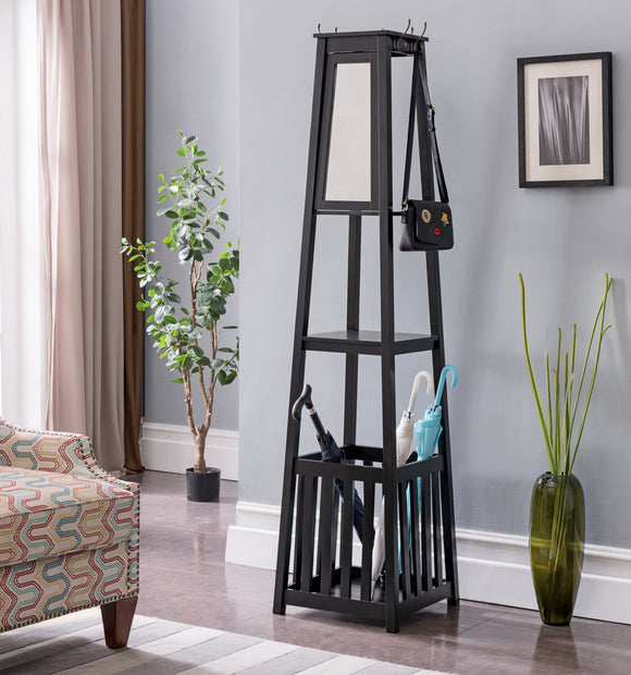Kendall Black, Cherry or White Wood Contemporary Entryway Hall Tree Coat Rack Stand With Storage Shelf, Umbrella Holder & Mirror - Pilaster Designs