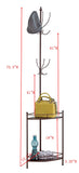 Yolanda Corner Coat & Hat Rack, Bronze Metal & Wood