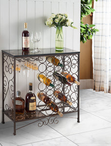 Marcus Bronze & Marble Metal Transitional Wine Rack  Organizer Display Stand With Storage Shelf & Cup Holders - Pilaster Designs