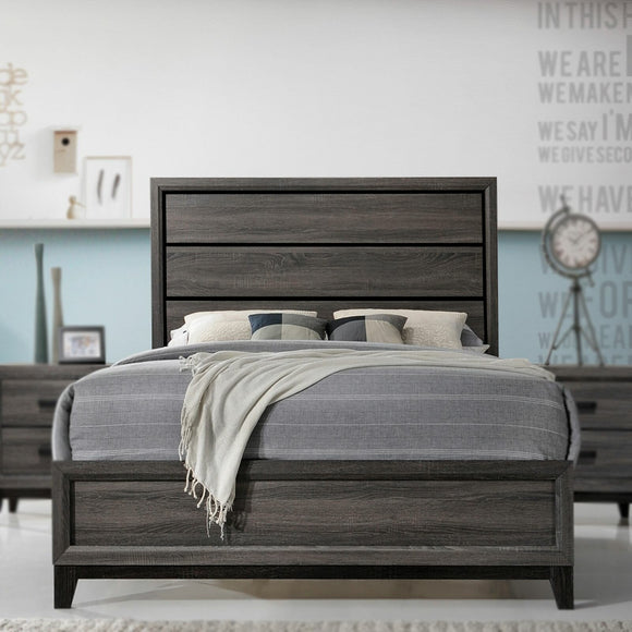 Asheville Panel Bed, King, Gray Wood
