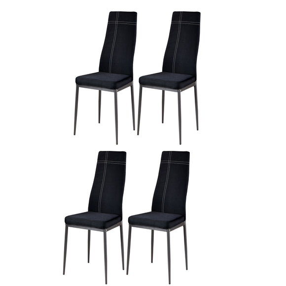 Bri Kitchen Dining Chairs, Black Fabric