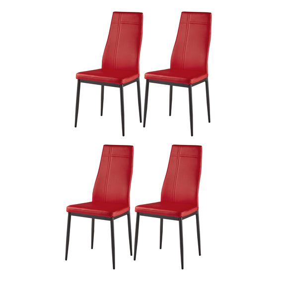 Bri Kitchen Dining Chairs, Red Faux Leather